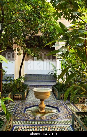 Fountain, Palais de la Bahia, Medina, Marrakesh, Morocco, North Africa - Stock Photo