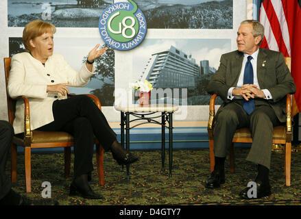 German Chancellor Angela Merkel meets US President George W. Bush for bilateral talks during the G8 summit in Toyako, - Stock Photo