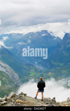 View from Dalsnibba mountain viewpoint, near Geiranger, More og Romsdal, Norway, Scandinavia - Stock Photo