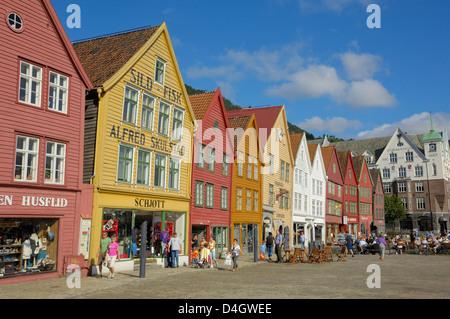 Wooden buildings on the waterfront, Bryggen, Vagen harbour, UNESCO World Heritage Site, Bergen, Hordaland, Norway, - Stock Photo