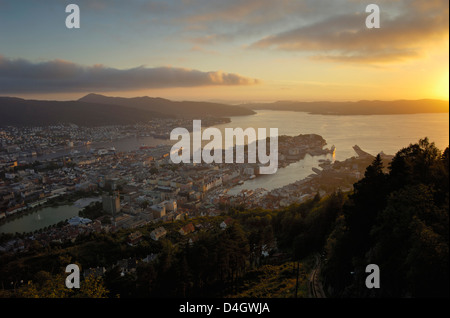 View of Bergen from Mount Floyen, Bergen, Hordaland, Norway, Scandinavia - Stock Photo