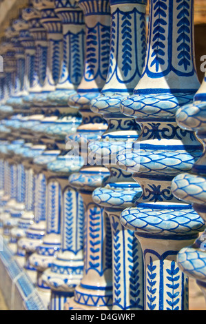 Ceramic decor columns, Plaza de Espana, Seville, Andalusia, Spain - Stock Photo
