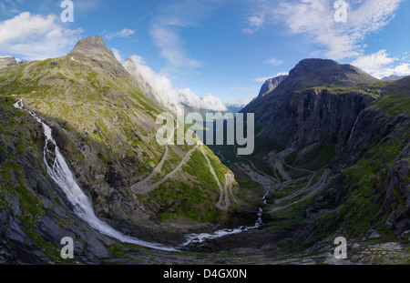 View from Trollstigen viewpoint, More og Romsdal, Norway, Scandinavia - Stock Photo