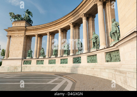 Statues of Hungarian historical leaders, Millennium Monument, Hosok Tere (Heroes Square), Budapest, Hungary - Stock Photo