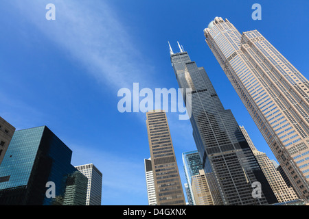 Chicago skyscrapers including the Willis Tower, formerly the Sears Tower, Chicago, Illinois, USA - Stock Photo