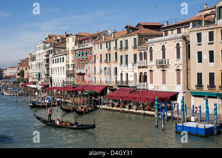 View of the Grand Canal from the Rialto Bridge, Venice, UNESCO World Heritage Site, Veneto, Italy - Stock Photo