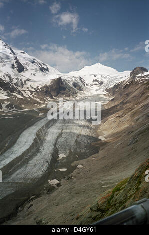 Pasterze glacier, the longest glacier in the eastern Alpes and 'Johannisberg' (3.460 m) summit above it seen from - Stock Photo