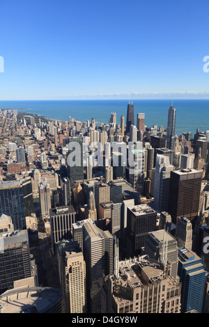 Chicago cityscape, looking north from Willis Tower, Chicago, Illinois, USA - Stock Photo
