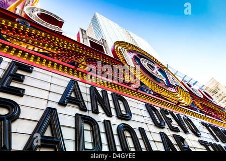 Close up of Chicago Theatre marquee, Chicgo, Illinois, USA - Stock Photo