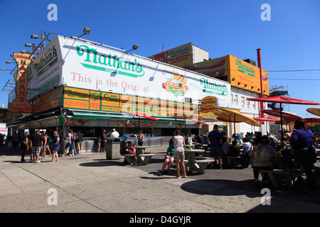 Nathans Famous Hot Dogs, Coney Island, Brooklyn, New York City, USA - Stock Photo