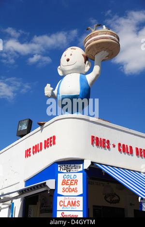 Boardwalk, Food Vendor, Coney Island, Brooklyn, New York City, USA - Stock Photo