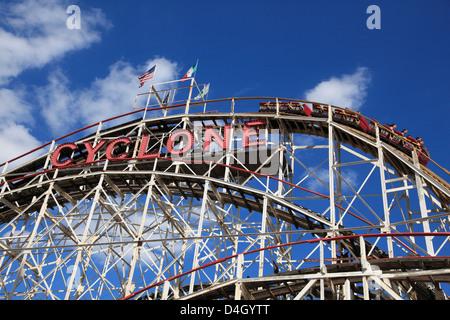 Cyclone roller coaster, Coney Island, Brooklyn, New York City, USA - Stock Photo