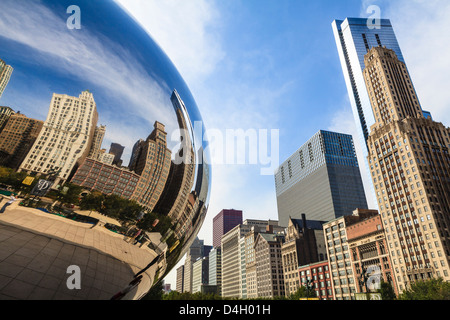 North Michigan Avenue reflecting in the Cloud Gate sculpture by Anish Kapoor, Millennium Park, Chicago, Illinois, - Stock Photo
