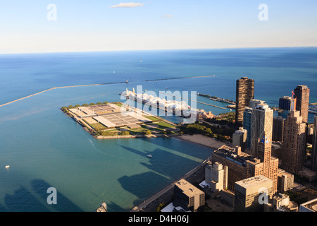 View of Lake Michigan from the Hancock Center, Navy Pier and Milton Lee Olive Park in the centre, Chicago, Illinois, - Stock Photo