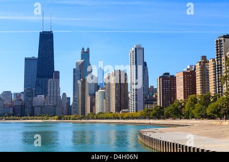 Chicago cityscape from North Avenue Beach, John Hancock Center on the left, Chicago, Illinois, USA - Stock Photo