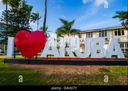 I love aruba sign in downtown Oranjestad, capital of Aruba, ABC Islands, Netherlands Antilles, Caribbean - Stock Photo
