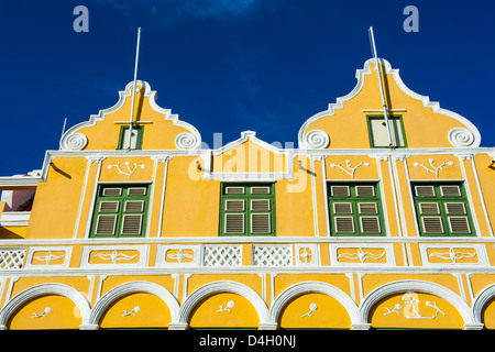 The colourful Dutch houses at the Sint Annabaai in Willemstad, UNESCO World Heritage Site, Curacao, ABC Islands, - Stock Photo