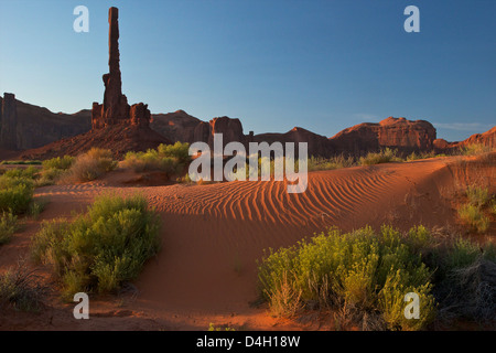 Totem Pole at dawn, Monument Valley Navajo Tribal Park, Utah, USA - Stock Photo