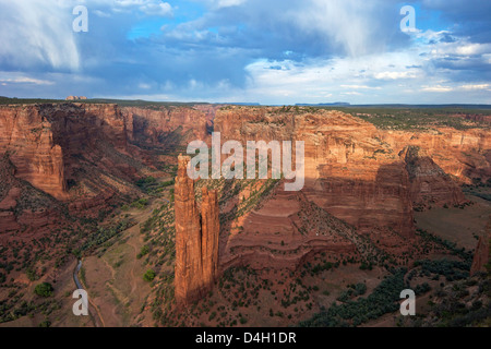 Spider Rock from Spider Rock Overlook, Canyon de Chelly National Monument, Arizona, USA - Stock Photo