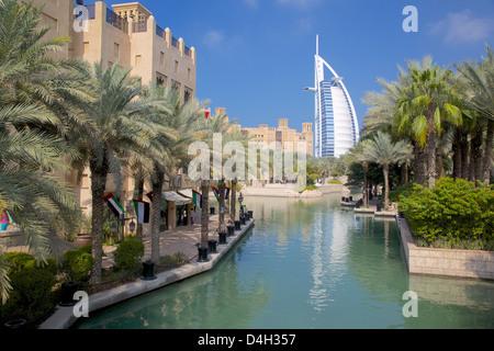 Madinat Jumeirah and Burj Al Arab, Dubai, United Arab Emirates, Middle East - Stock Photo