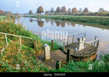 Manual river crossing on the River Mark in autumn, taken from the Belgium-Holland border, Meersel Dreef, Belgium - Stock Photo