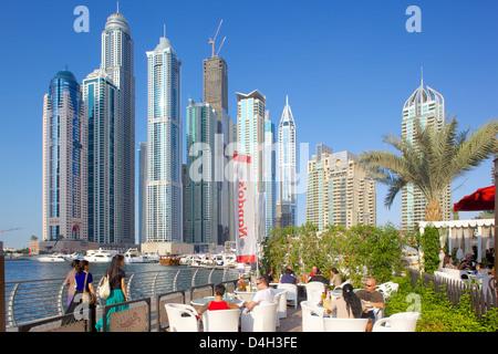 Dubai Marina and bar, Dubai, United Arab Emirates, Middle East - Stock Photo