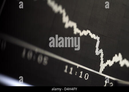 A display indicates the German stock index DAX plunging at Frankfurt Stock Exchange in Frankfurt Main, Germany, - Stock Photo