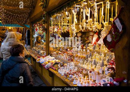 Christmas Market stall, Dortmund, North Rhine-Westphalia, Germany - Stock Photo