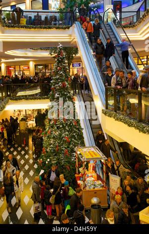 Saturn Shopping Centre at Christmas, Munster, North Rhine-Westphalia, Germany - Stock Photo