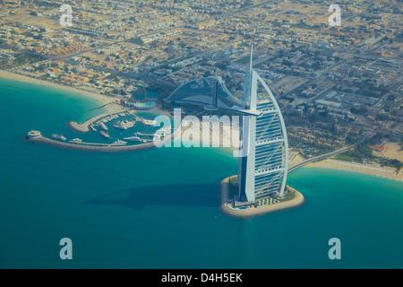 View of Burj Al Arab from seaplane, Dubai, United Arab Emirates, Middle East - Stock Photo