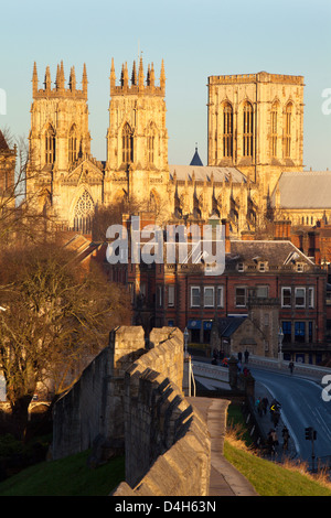 York Minster from the City Wall, York, Yorkshire, England, UK - Stock Photo