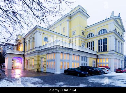 winter shot, neo-renaisance palace Zofin, Slavic Island, Prague, Czech Republic - Stock Photo