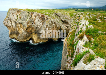 Karst limestone sea cliffs at Pria, with Picos de Europa mountains in the background, near Llanes, Asturias, Spain - Stock Photo