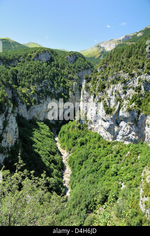 Yaga River and karst limestone cliffs of Escuain gorge, Ordesa and Monte Perdido National Park, Huesca, Aragon, - Stock Photo