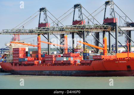 Container being loaded onto container ship by loading derrick at Felixstowe Docks, Suffolk, England, UK - Stock Photo