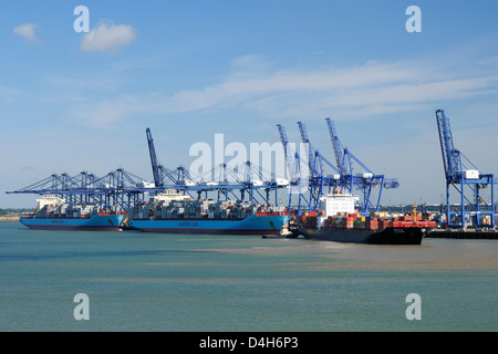 Container ships and loading derricks at Felixstowe Docks, Suffolk, England, UK - Stock Photo