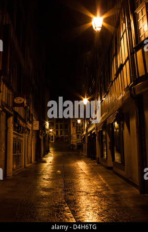 Empty streets of Bayonne, France, in the very early hours of the morning. - Stock Photo