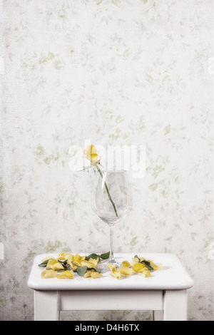 a yellow rose in a glass lost its petals - Stock Photo