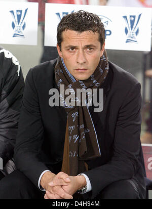 Belgrade?s coach Slavisa Jokanovic captured during the UEFA Cup soccer match of Group C VfB Stuttgart vs Partizan - Stock Photo