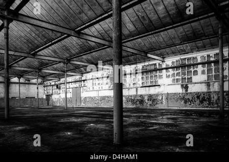 Italy. Abandoned factory warehouse - Stock Photo