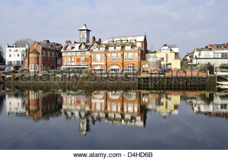 St James Independent Schools buildings reflecting in river Thames, Twickenham London UK - Stock Photo