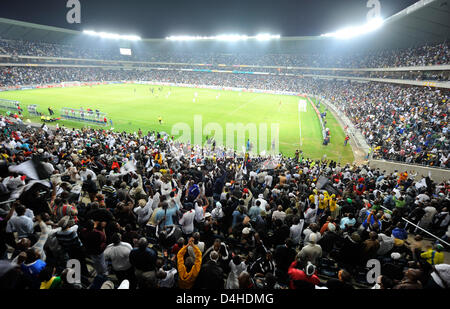 View into the reopened Orlando stadium during the soccer match Orlando Pirates v Thanda Royal Zulus in Soweto, South - Stock Photo