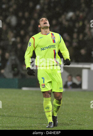 Ederson of Olympique Lyon gestures during the Champions League Group F match against FC Bayern Munich at Stade de - Stock Photo