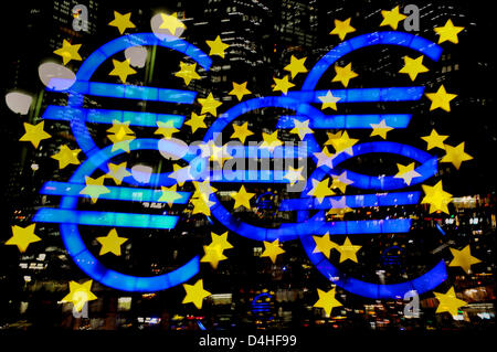 Euro Symbol At Night In Front Of The Ezb Ecb European Central