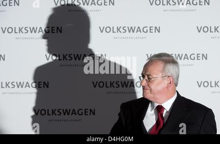 Volkswagen chairman of the managing board Martin Winterkorn attends the VW annual press conference in Wolfsburg, - Stock Photo