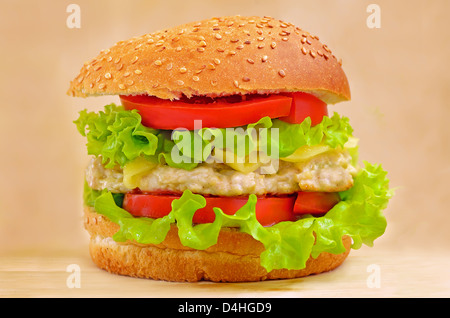 Burger fast food on a wooden table - Stock Photo