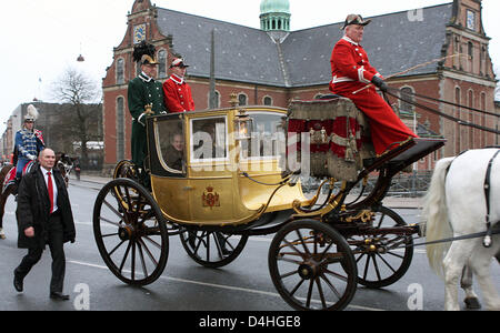 Queen Margrethe II of Denmark and Henrik, Prince Consort of Denmark ride by coach from Amalienborg Palace to Christianborg - Stock Photo