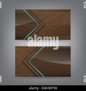 Wood and neon glass theme business card template (Part 2) - Stock Photo