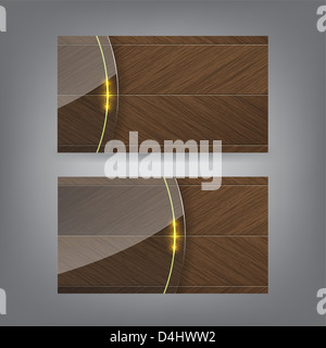 Wood and neon glass theme business card template (Part 3) - Stock Photo