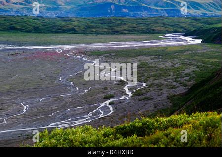 Braided river drains snow melt from the Alaska Range, Denali National Park & Preserve, Alaska, USA - Stock Photo
